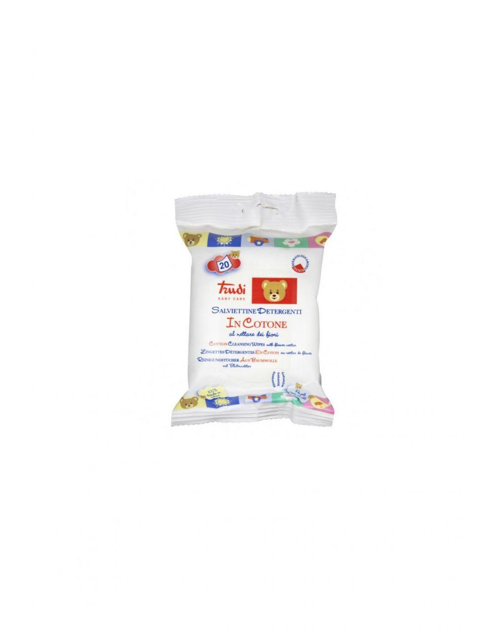 Salviettine detergenti in cotone nettare di fiori 20 pz - Trudi