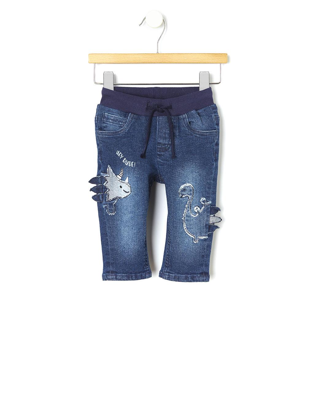 Pantalone denim con patch dinosauri - Prénatal
