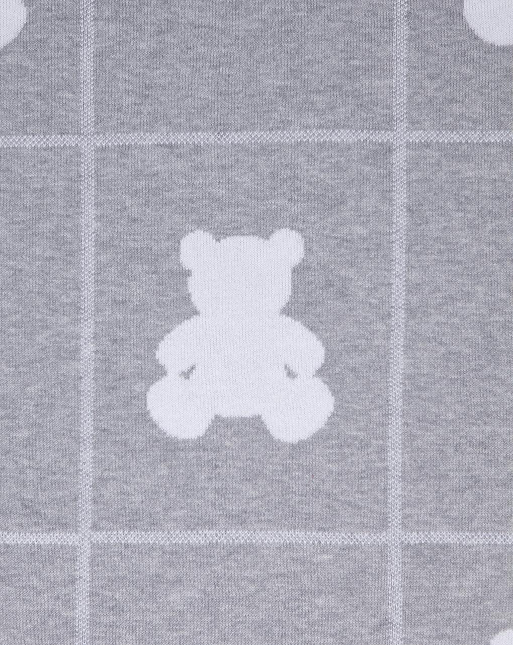 Coperta in tricot grigio e grigio chiaro con orsi - Prénatal