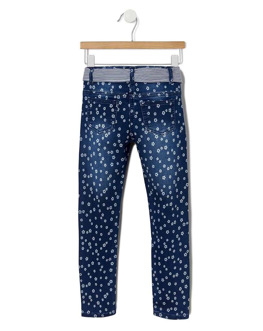Pantalone denim con stampa allover fiori - Prénatal