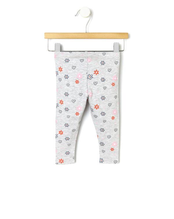 Leggings basico con stampa cuori e fiori - Prénatal