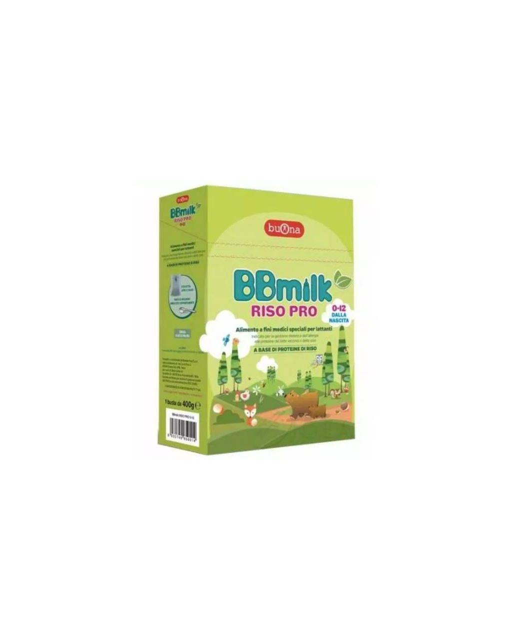 Latte bbmilk riso pro 0-12 mesi 400 gr - Buona