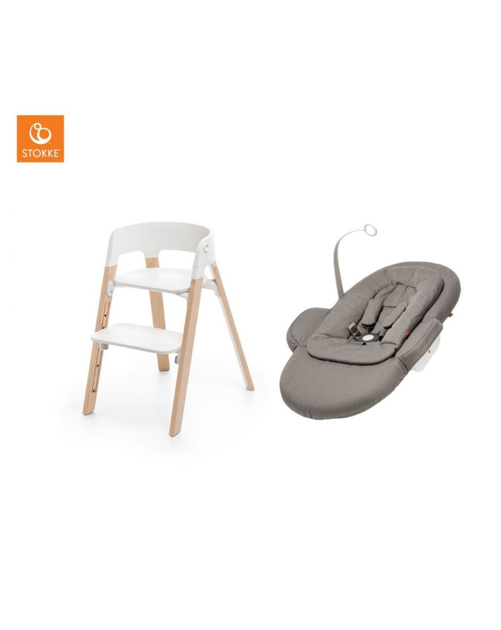 Bundle steps naturale/bianco e newborn set greige - Stokke