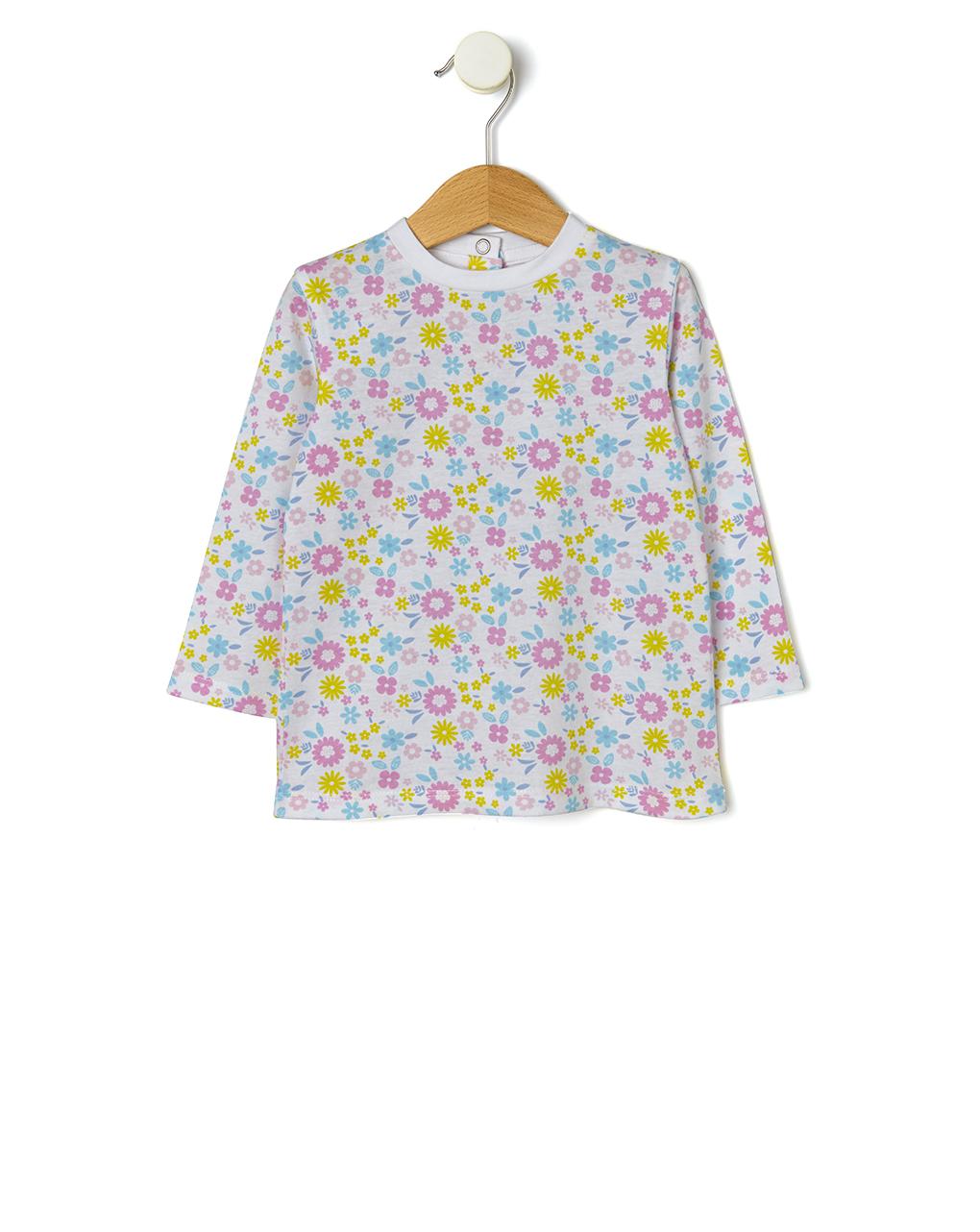 T-shirt basica con stampa allover fiori - Prénatal