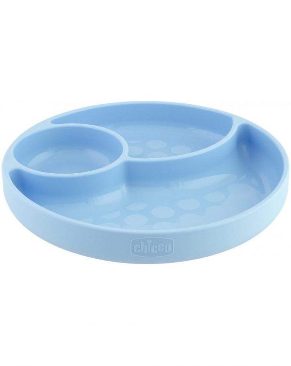 Piatto Silicone A Scomparti Con Ventosa 12 Mesi + Azzurro - Chicco