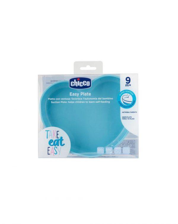 Piatto Cuore in Silicone con Ventosa 9m+ azzurro - Chicco