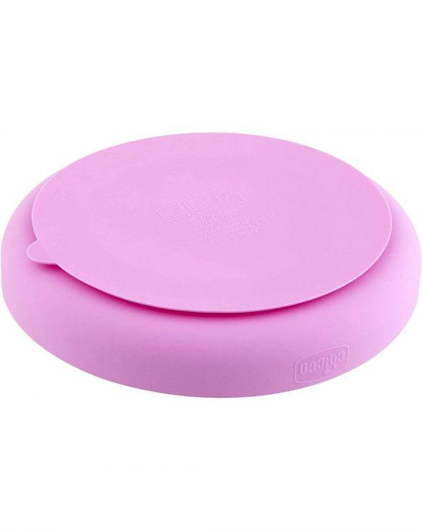 Piatto Silicone A Scomparti Con Ventosa 12 Mesi + Rosa - Chicco