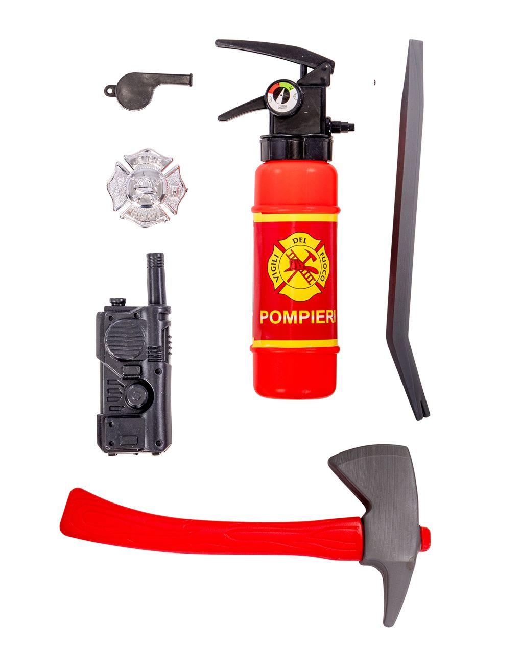 Set pompiere (estintore, accetta, distintivo, fischietto, radiolina, piede di porco) - Carnival Toys