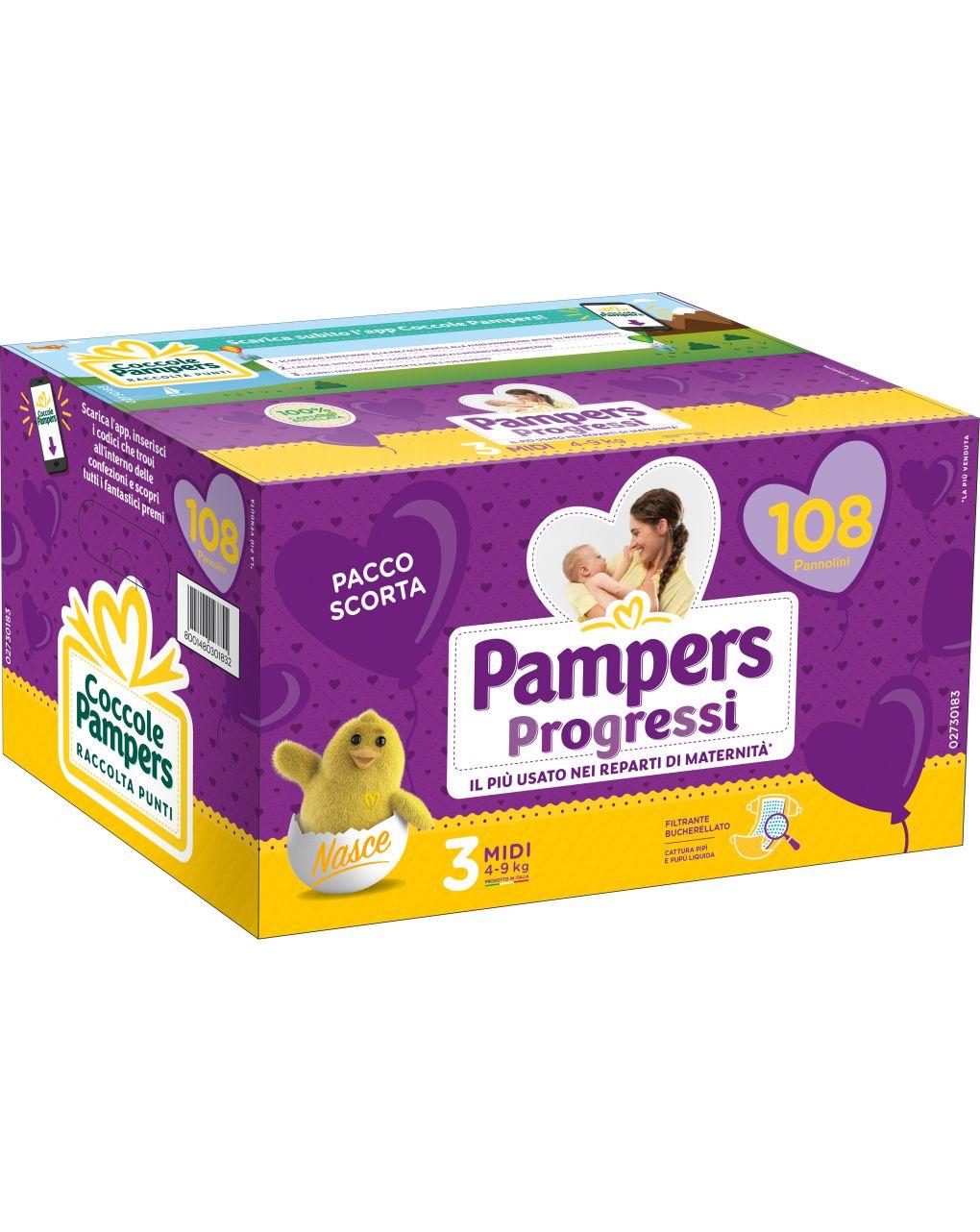 Pannolini quadri progressi tg. 3 (108 pz) - Pampers