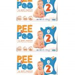 The Pee and the poo mini taglia 2 (3pack - 78 pz)