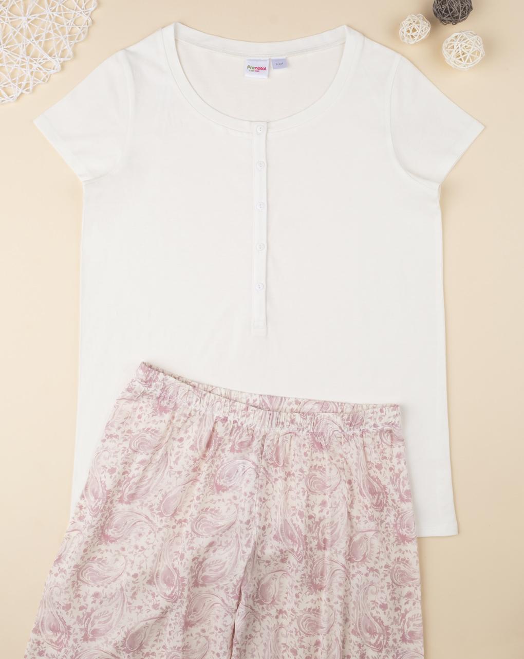 T-shirt pigiama allattamento bianca mix & match - Prénatal