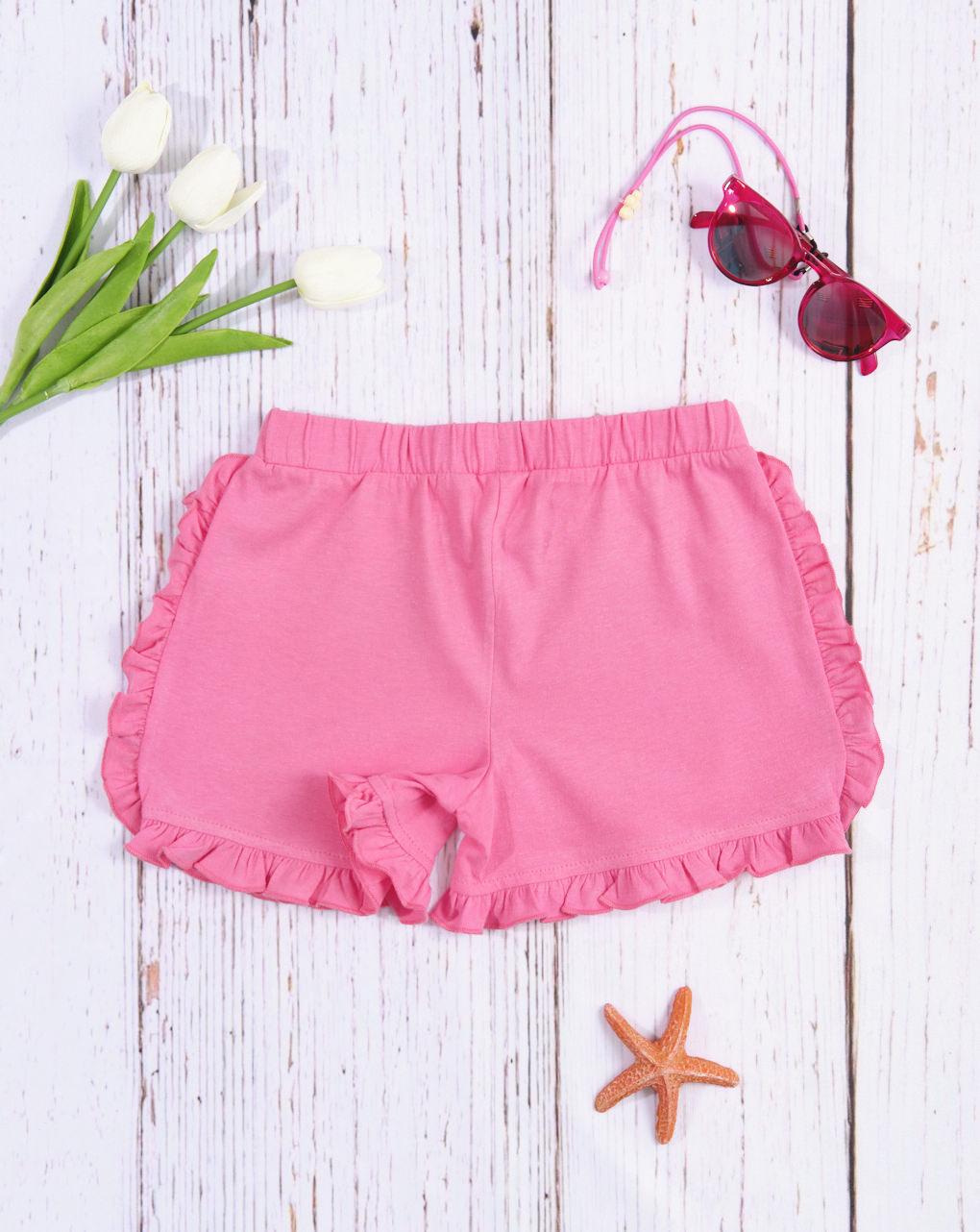 Shorts bimba tinta unita rosa - Essential by Prénatal