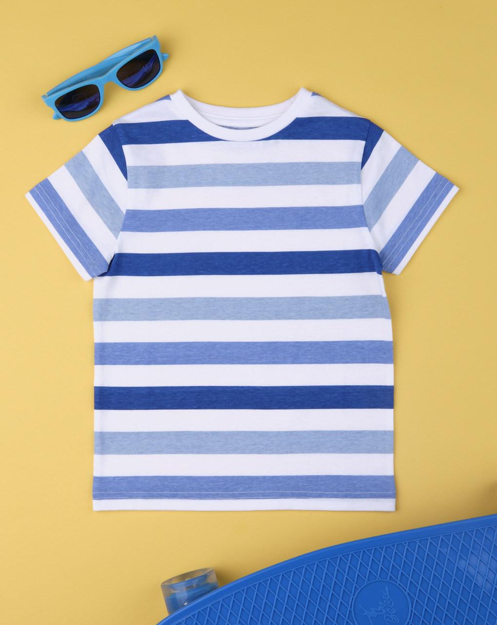 T-shirt boy rigata blu - Prénatal