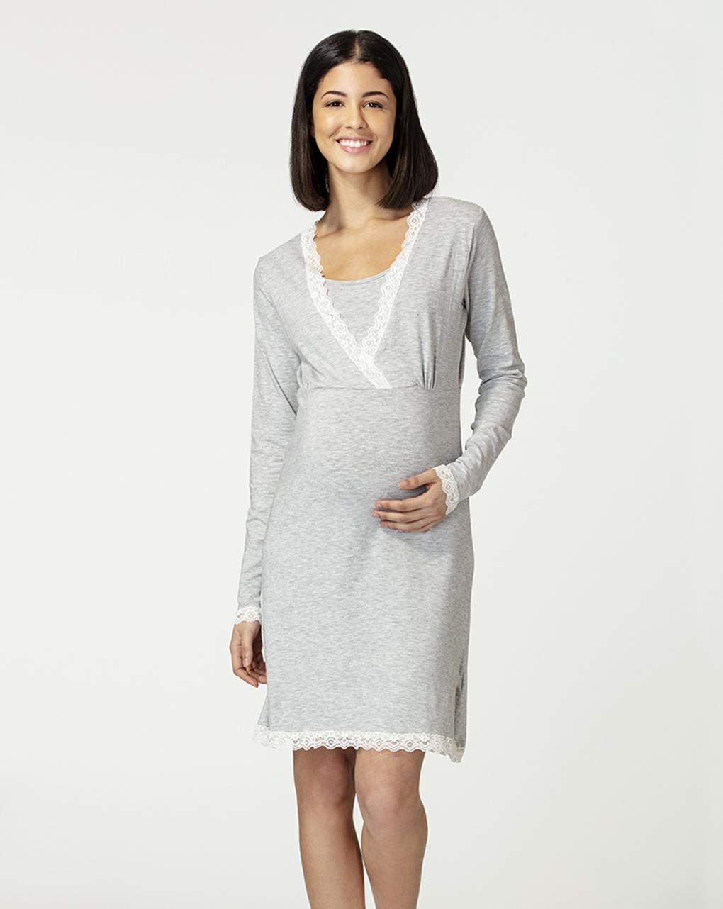 Camicia da notte allattamento con inserti in pizzo bianco - Prénatal