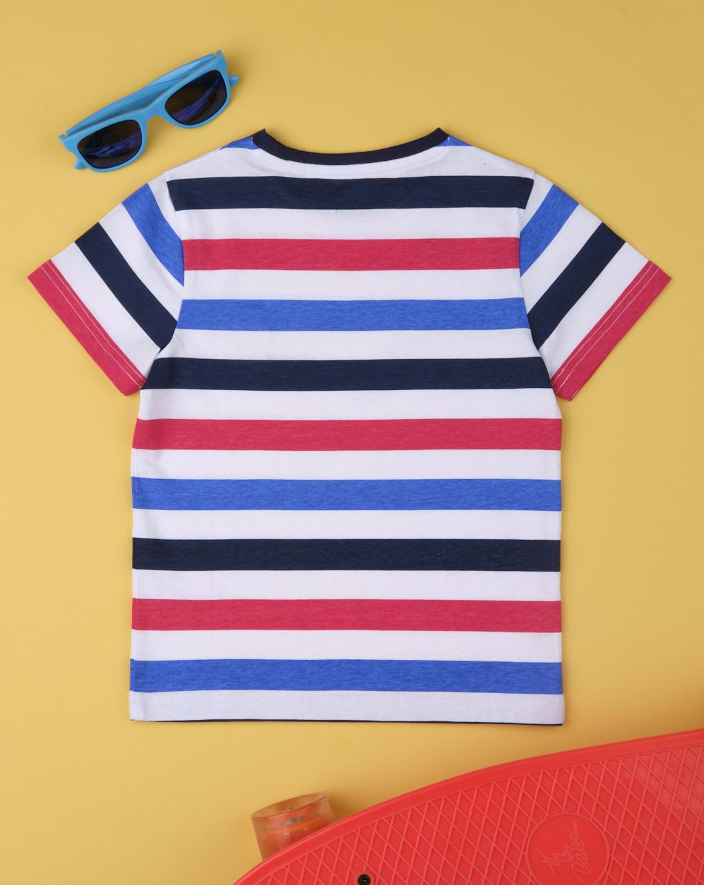 T-shirt boy rigata rosso & blu - Prénatal