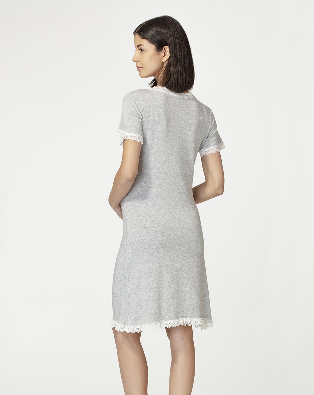 Camicia maniche corte grigio chiaro mélange con pizzo - Prénatal