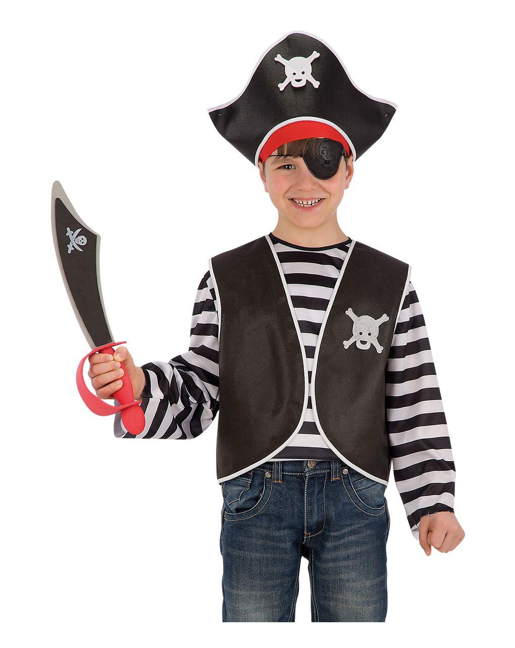 Set pirata bimbo (gilet, bandana, cappello e benda) - Carnival Toys