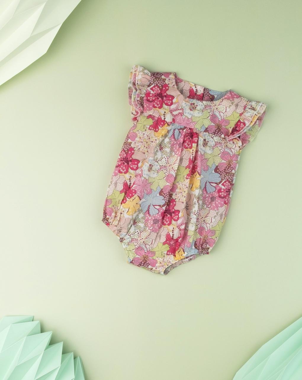 """Pagliaccetto neonato  allover """"sweet flower"""" in tessuto liberty - Prénatal"""
