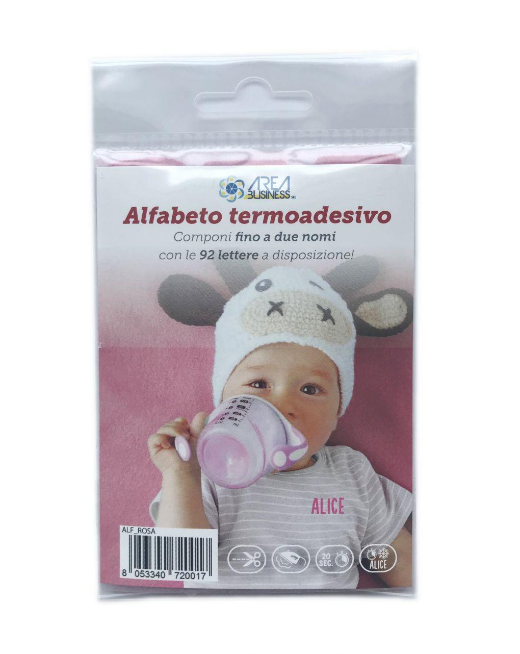 Alfabeto termoadesivo marcabiancheria rosa - AREA BUSINESS