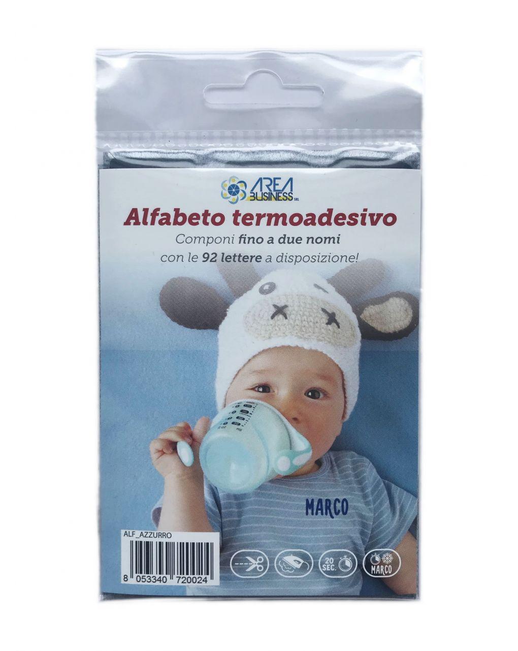 Alfabeto termoadesivo marcabiancheria azzurro - AREA BUSINESS