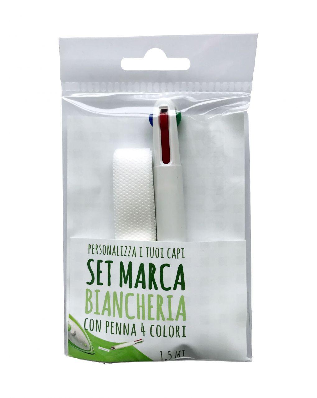 Kit nastro di tessuto marcabiancheria e penna 4 colori - AREA BUSINESS