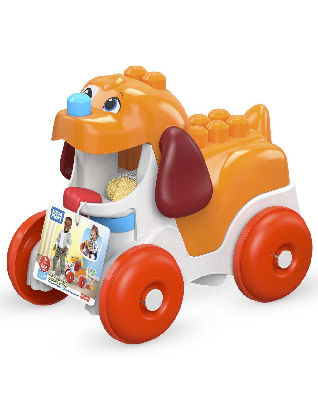 Mega bloks- cagnolino pupù e vai, con 15 blocchi da costruzione giocattolo per bambini 1+anni - Mega bloks