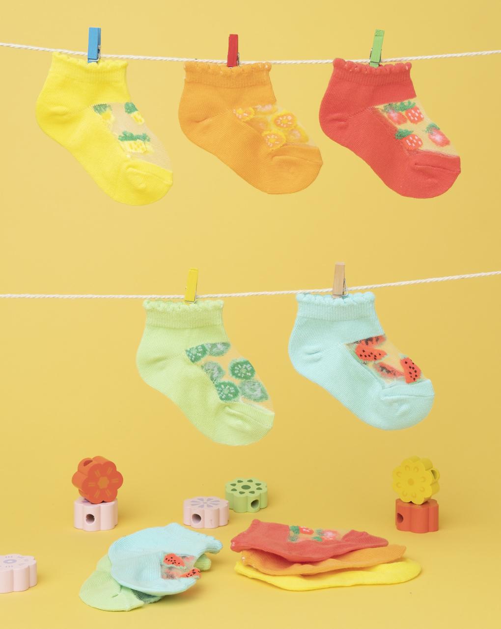 Pack 5 calze baby multicolor fruit - Prénatal