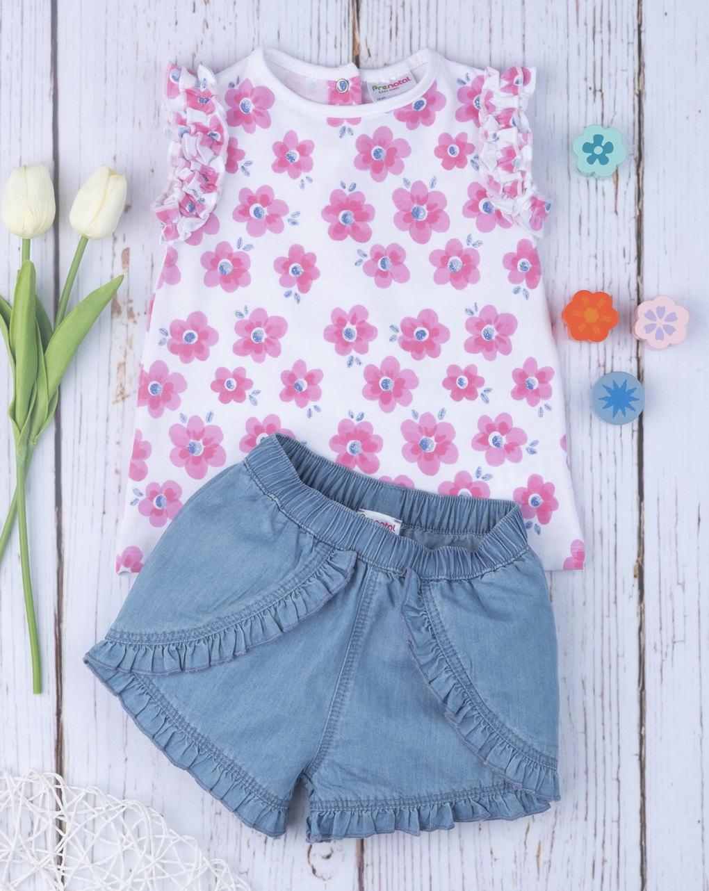 """Completo girl shorts + canotta """"flower"""" - Prénatal"""