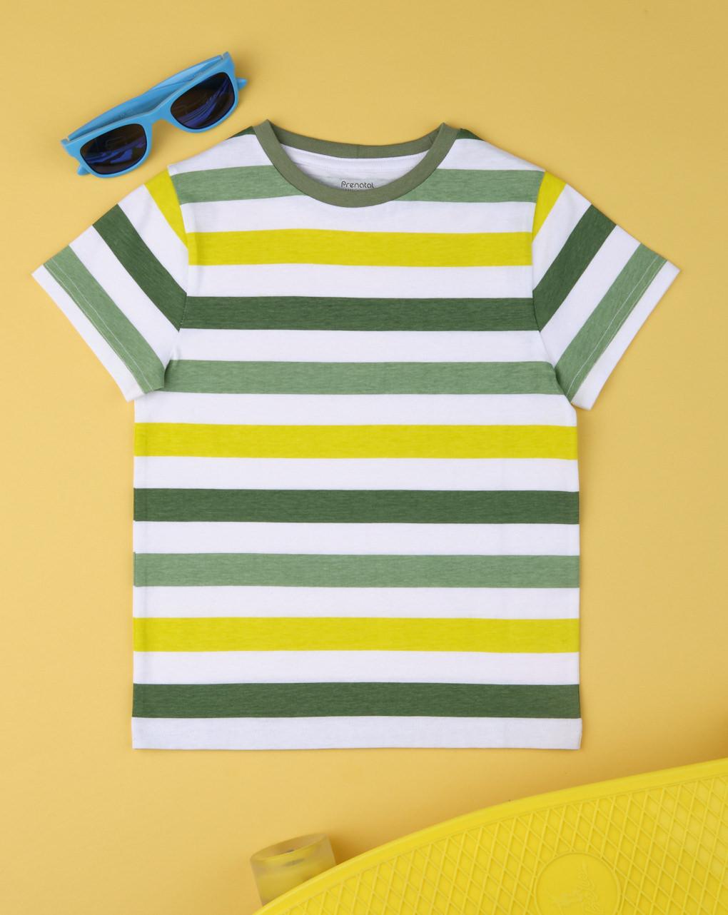 T-shirt boy rigata verde - Prénatal