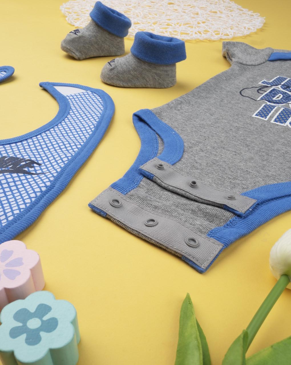 Completo nike boy body, bavaglino e babbucce blue&gray - Nike