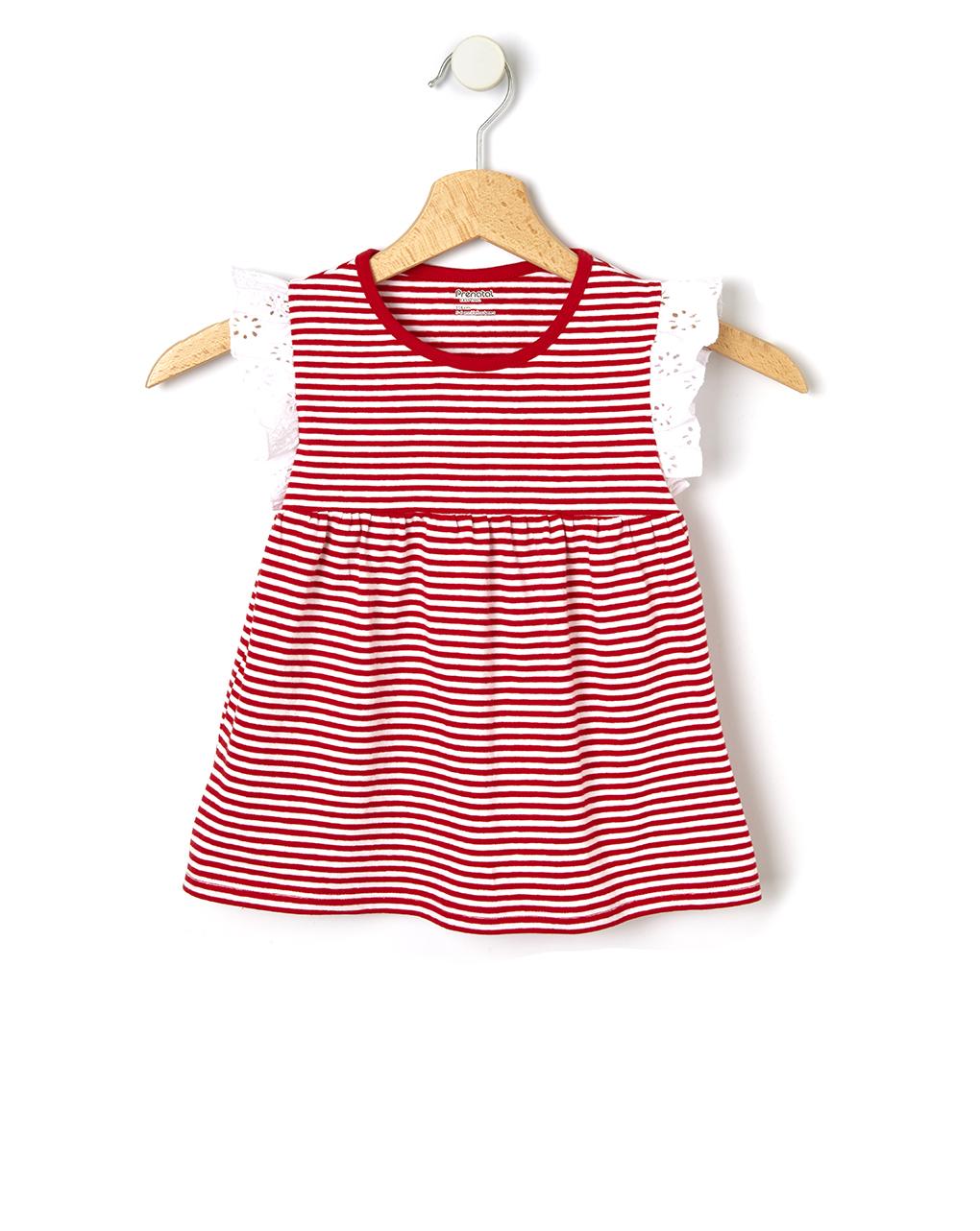 T-shirt rigata con manica in sangallo - Prénatal