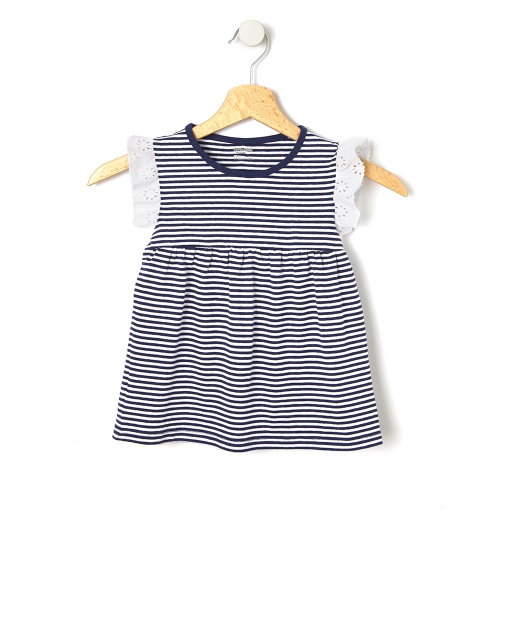 T-shirt a righe con inserti in sangallo - Prénatal