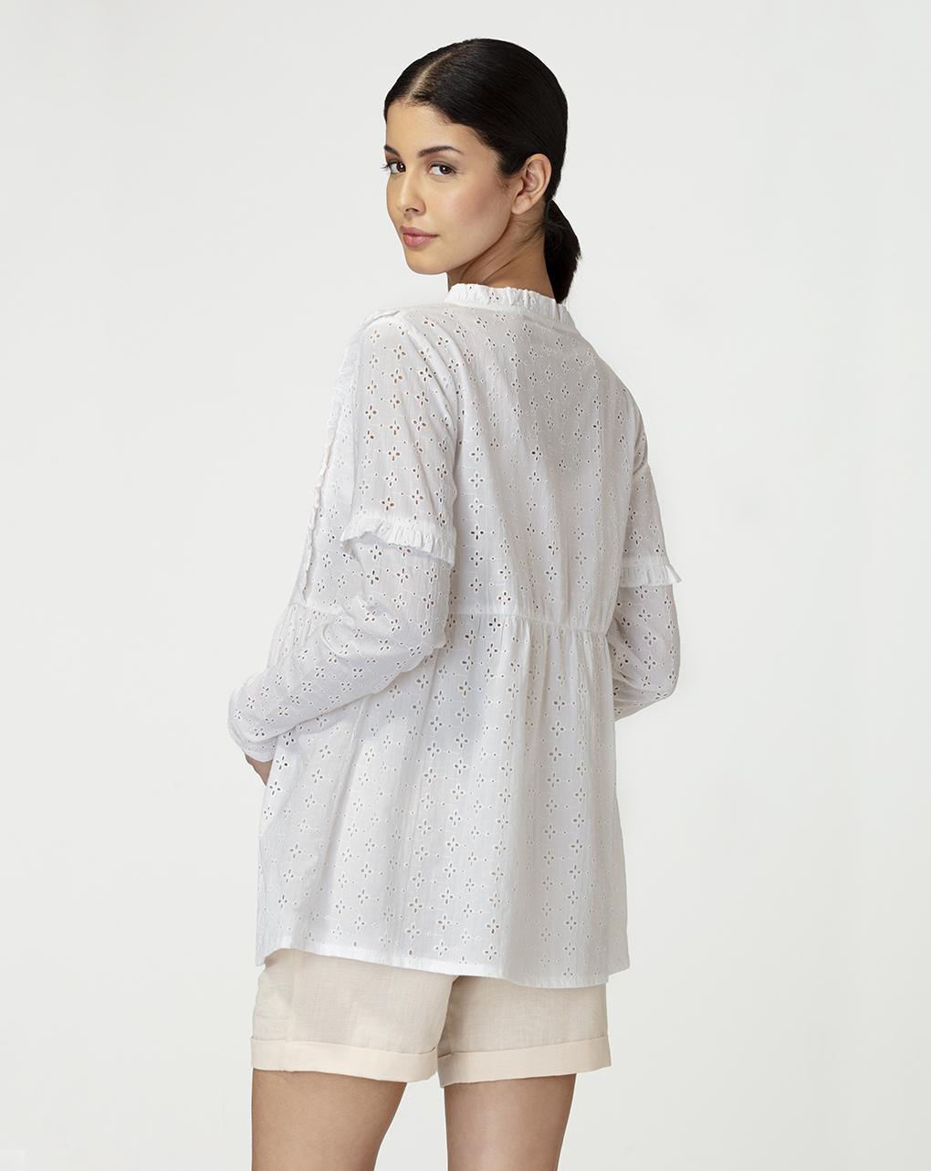 Camicia in pizzo sangallo bianco - Prénatal