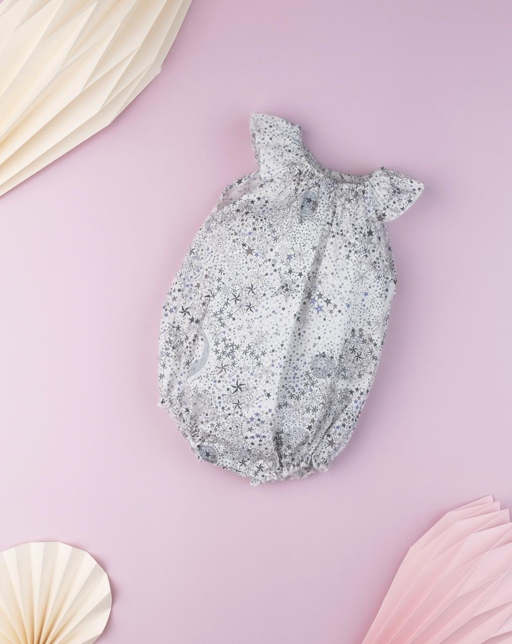 """Pagliaccetto neonato """"stelle"""" black & white in tessuto liberty - Prénatal"""