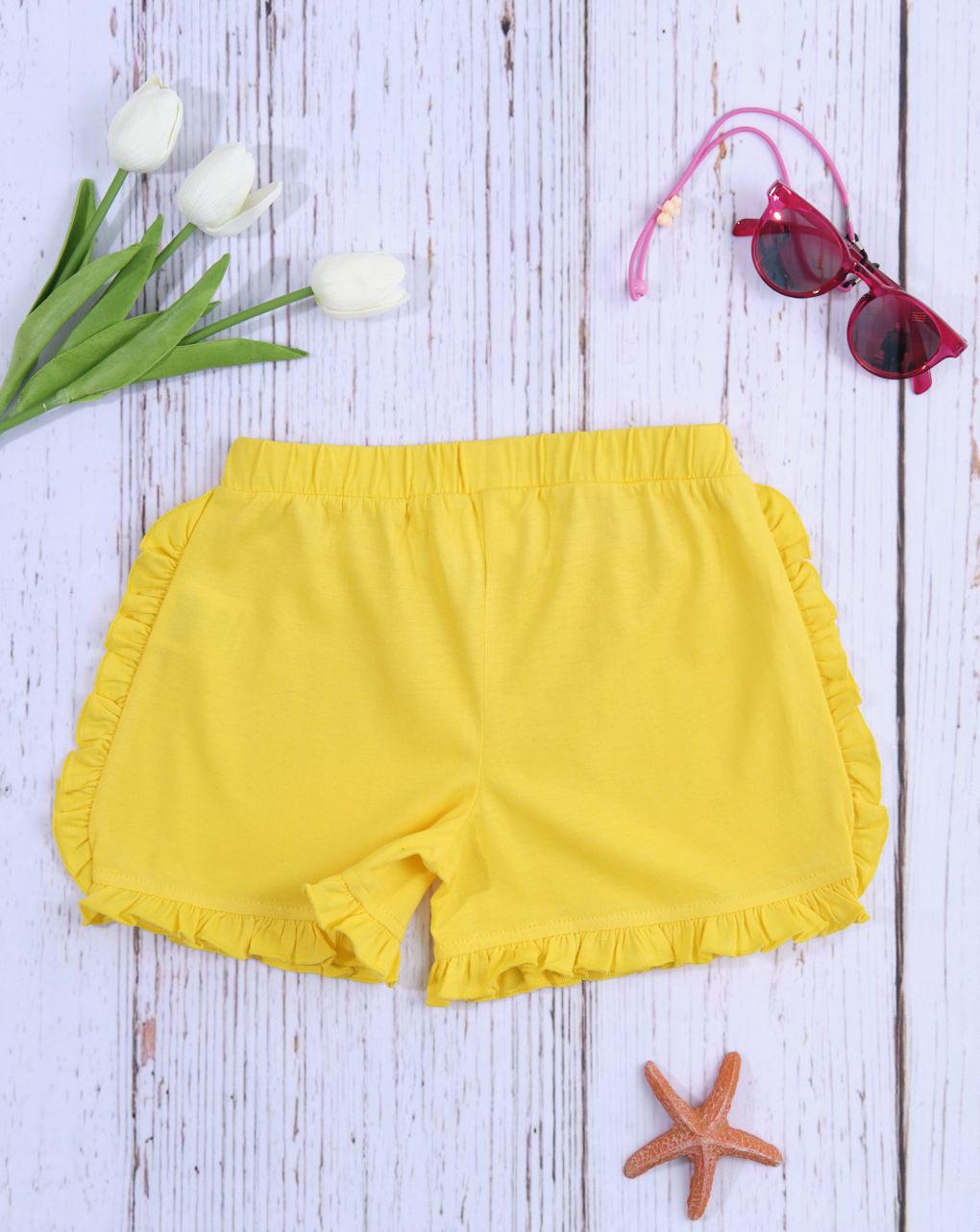 Shorts bimba tinta unita giallo - Essential by Prénatal
