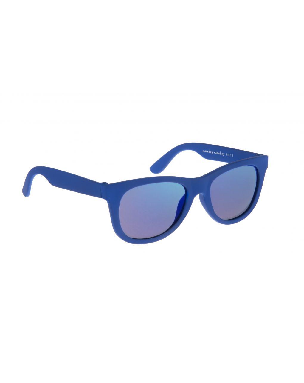 Occhiali da sole blu in gomma con lenti a specchio - Monkey Monkey