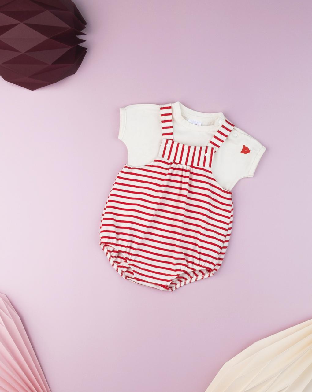 """Completo salopette neonato """"rigato rosso"""" - Prénatal"""
