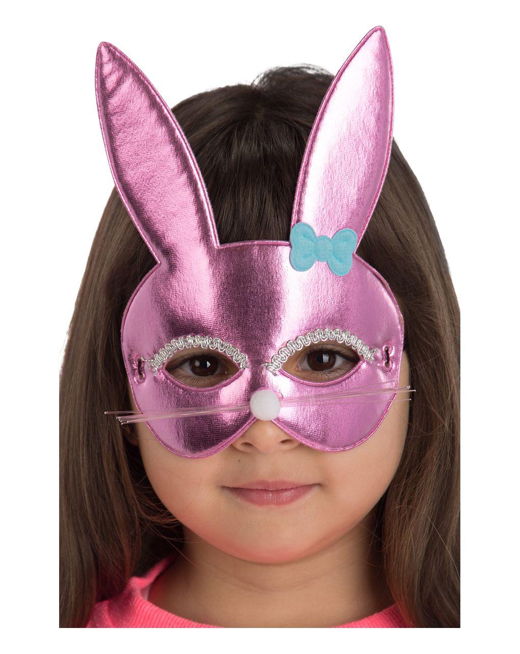 Maschera coniglietta rosa bimba in tessuto metallizzato - Carnival Toys