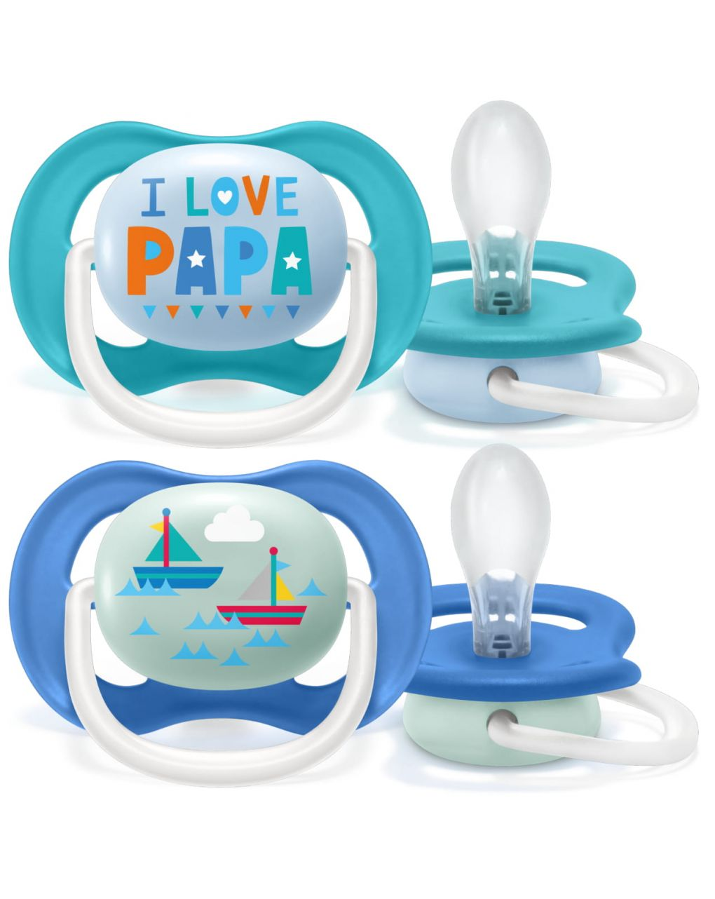 Philips avent 2 succhietti ultra air collection 6-18m maschio - papa - Avent