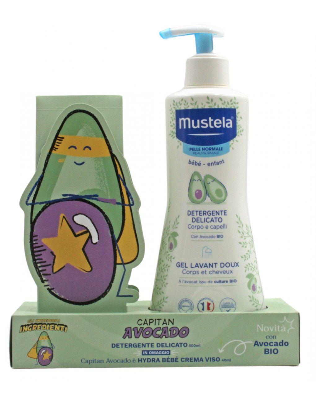 Capitan avocado: detergente delicato 500ml + hydra bebe' viso 40ml - Mustela