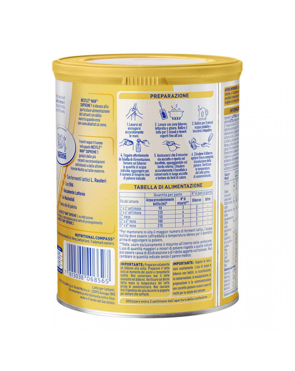Nestlé nan supreme 1 dalla nascita latte per lattanti in polvere latta 400g - Nestlé