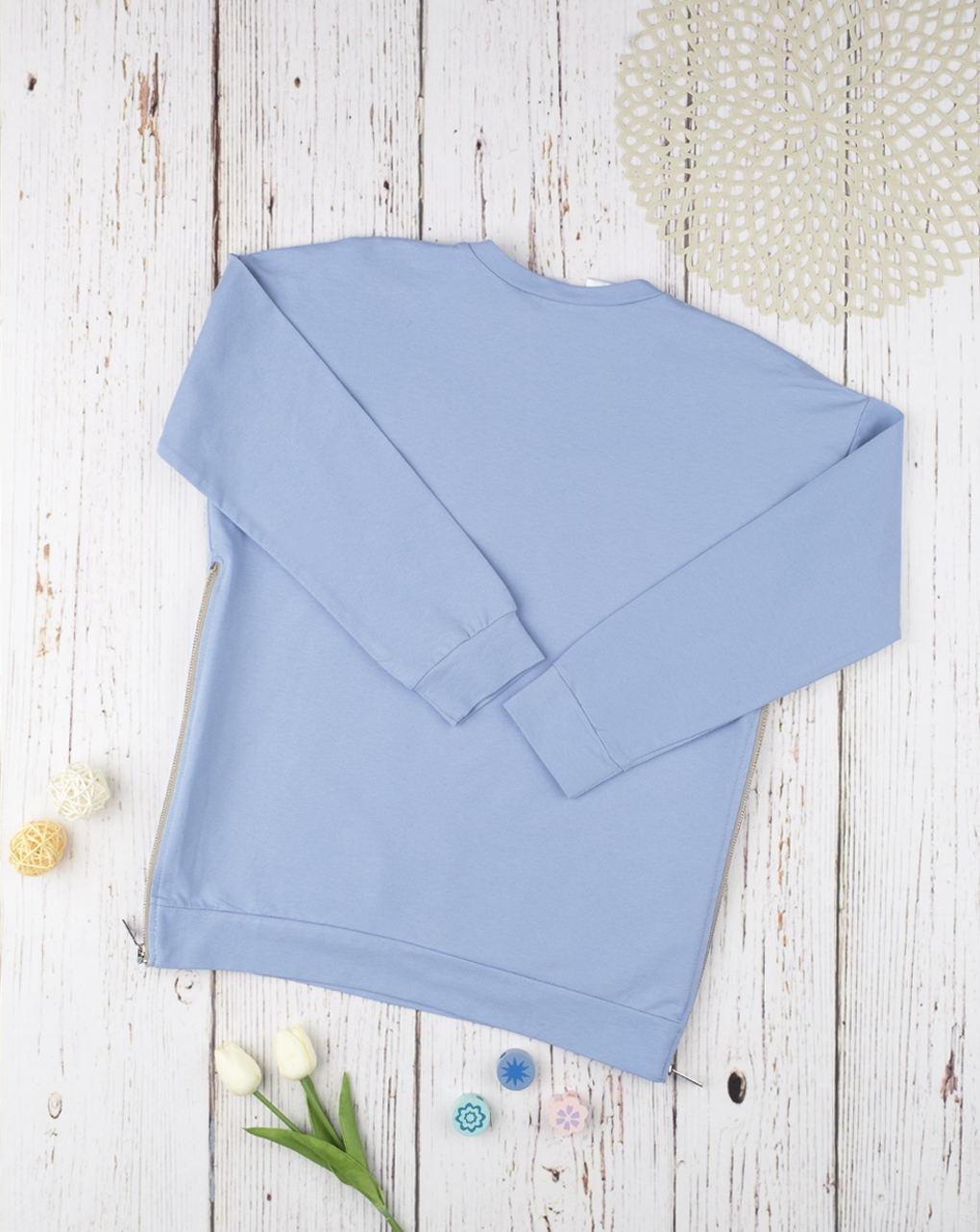 Felpa con spacchi azzurra allattamento - Prénatal