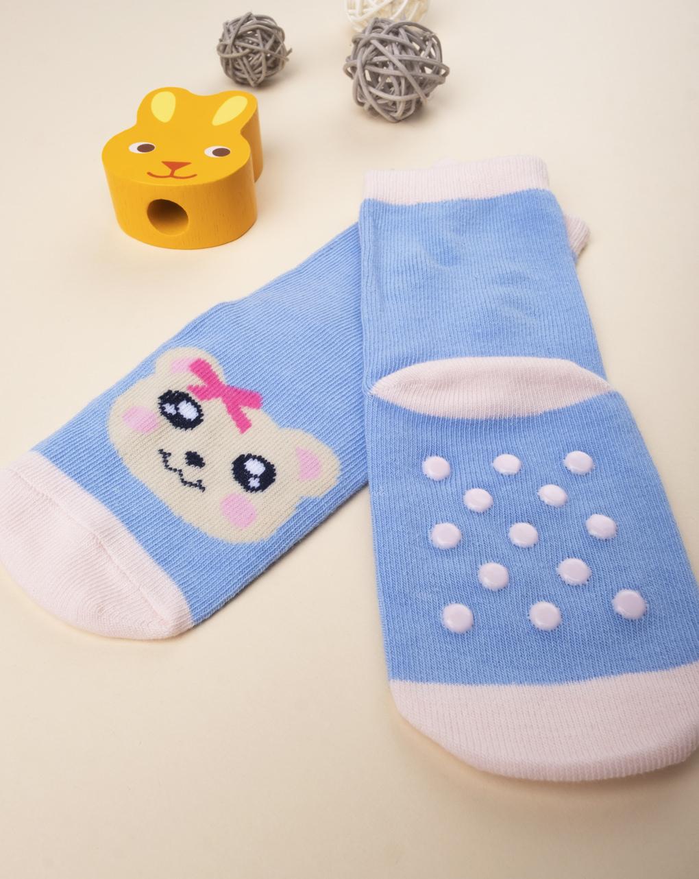 Antiscivolo baby girl animaletti azzurro - Prénatal