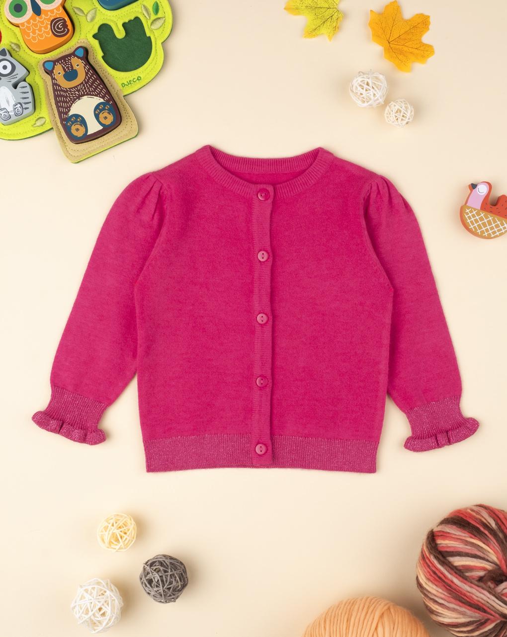 Maglia cardigan tricot baby girl fucsia - Prénatal