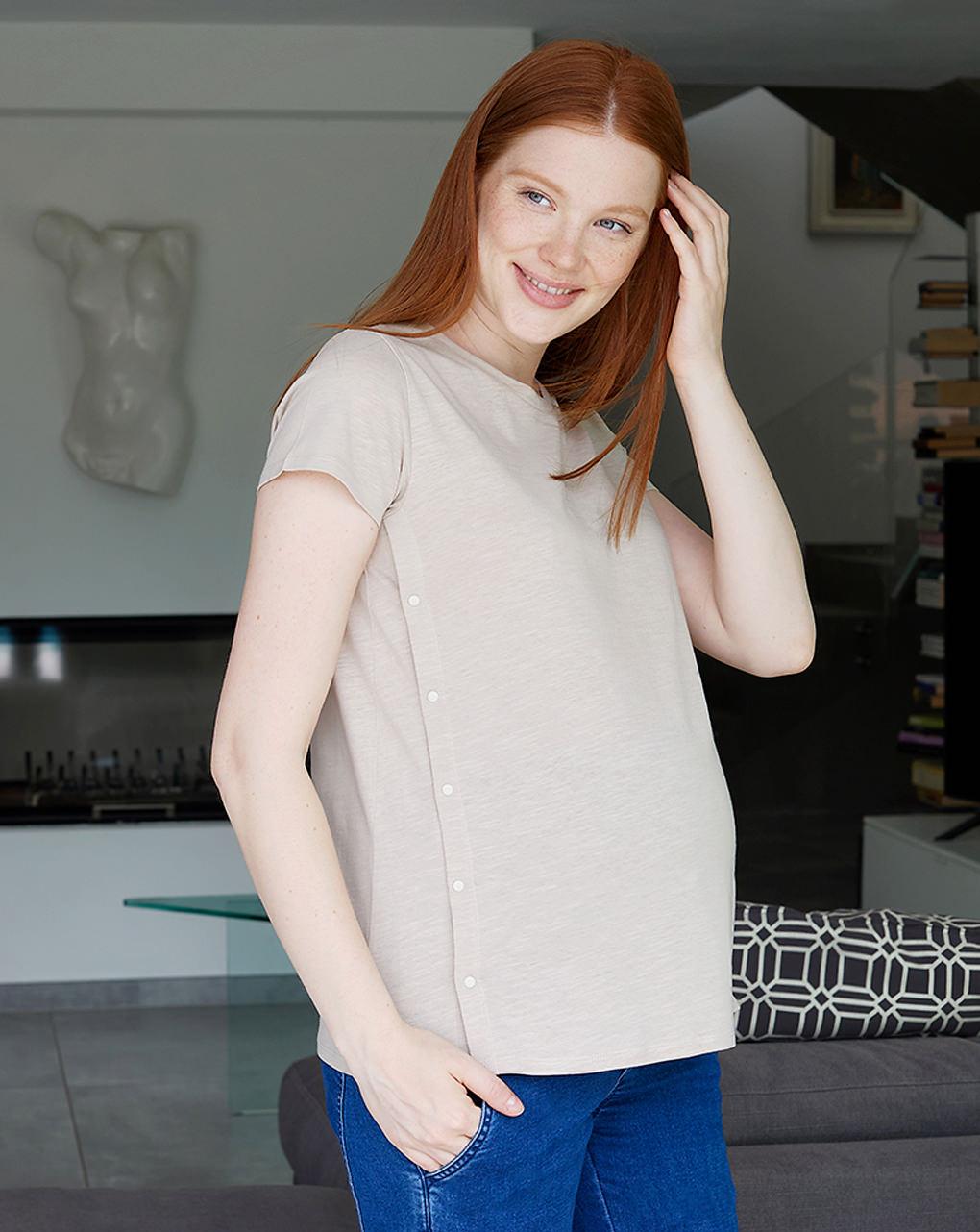 T-shirt premaman allattamento con bottoni laterali - Prénatal