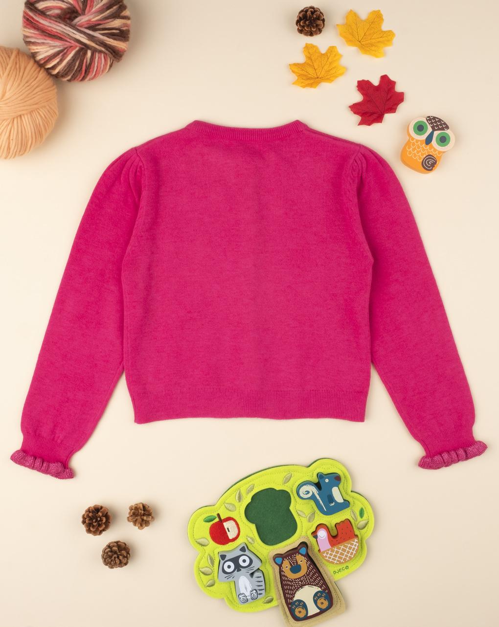 Maglia cardigan tricot girl fucsia - Prénatal