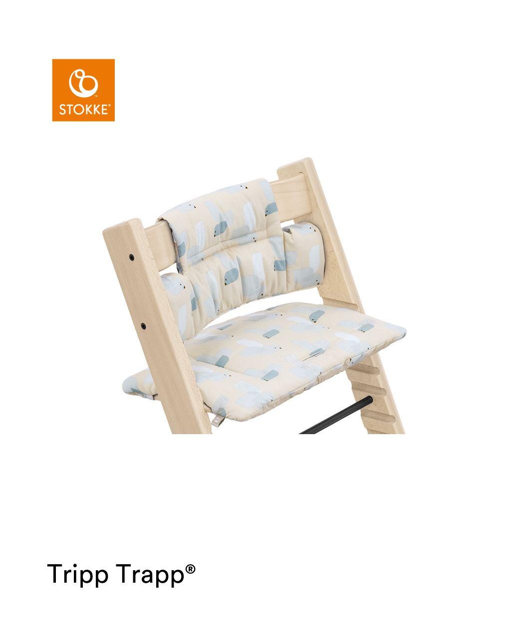 Tripp trapp® classic cushion birds blue ocs cuscino per seggiolone, morbido e avvolgente per il tuo bambino - Stokke