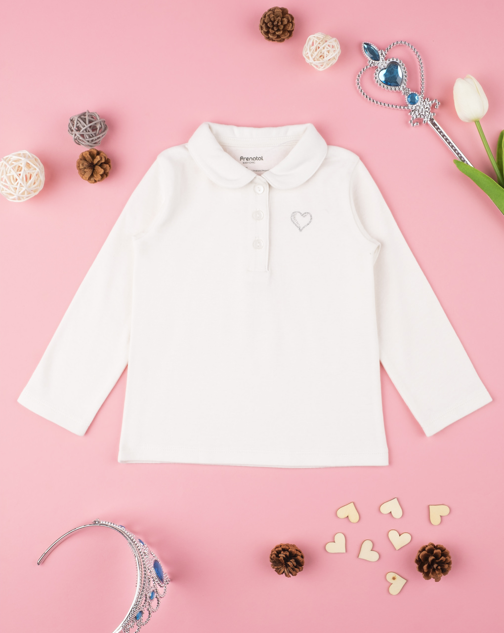 Polo baby girl white - Prénatal