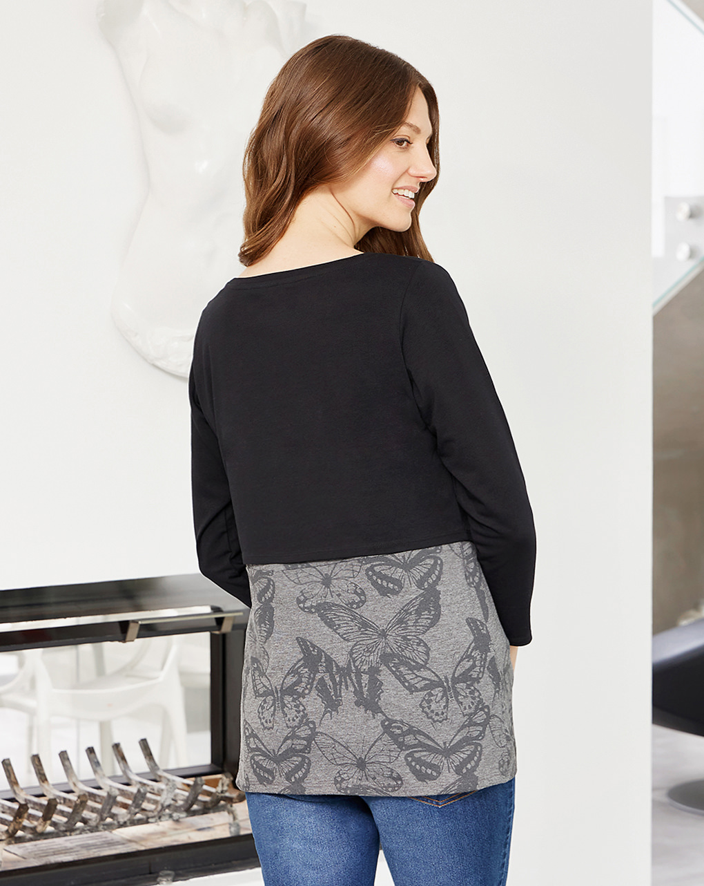 T-shirt premaman allattamento in jersey fantasia farfalle - Prénatal