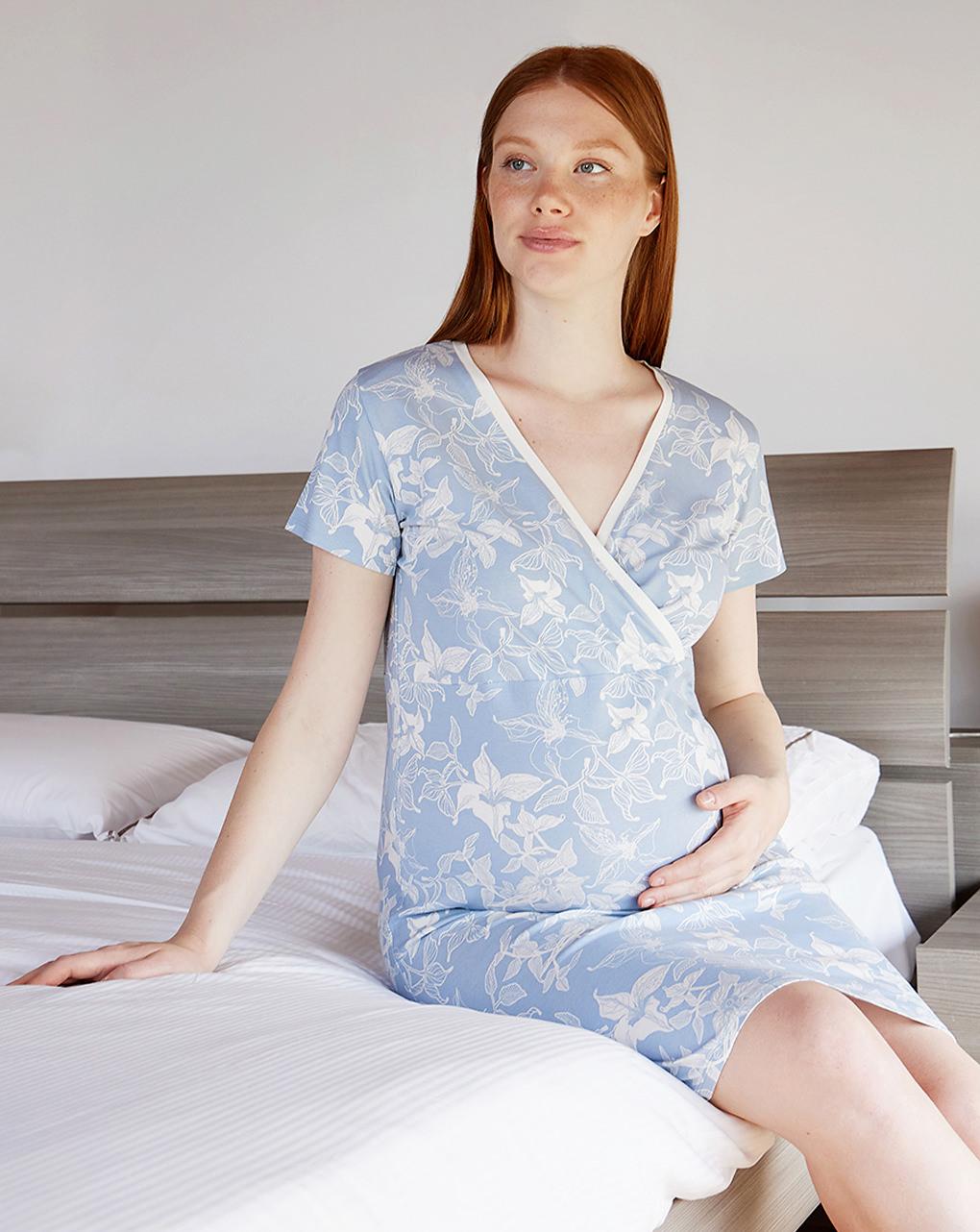 Camicia da notte premaman allattamento con scaldacuore - Prénatal
